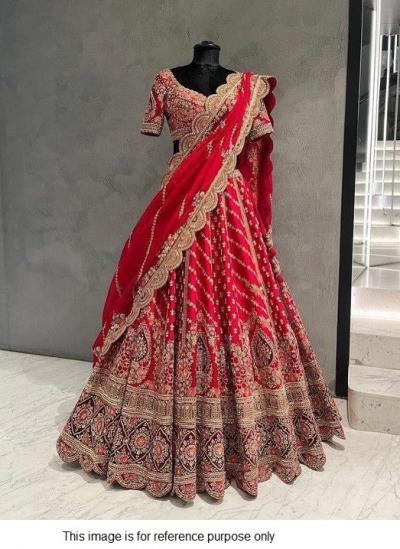Bollywood model red tapeta silk wedding lehenga