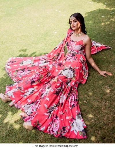Bollywood Model Pink floral satin sharara