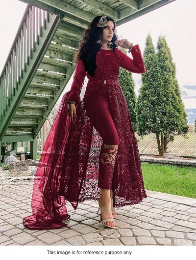 Bollywood Model Maroon net front slit open suit