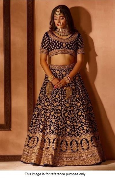 Bollywood Model black velvet lehenga choli