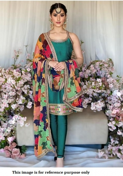 Bollywood model green tabby silk churidar