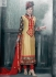 Beige and Red Designer Party Wear Straight Cut Long Salwar kameez