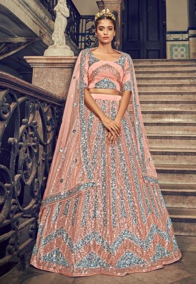 Peach net sequins work lehenga choli 1701