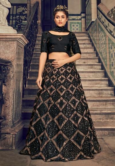 Black net sequins work lehenga choli 1702