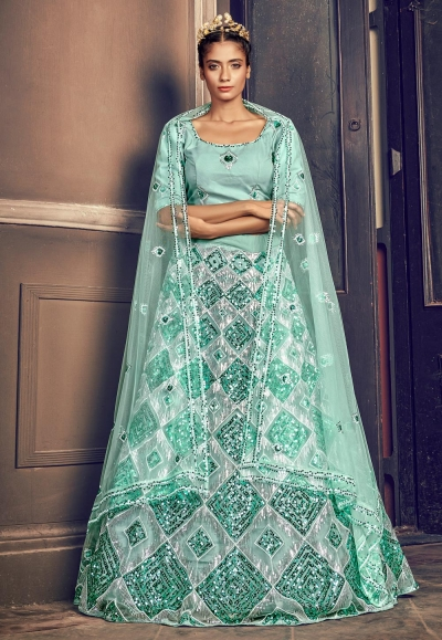 Light green net sequins work lehenga choli 1705