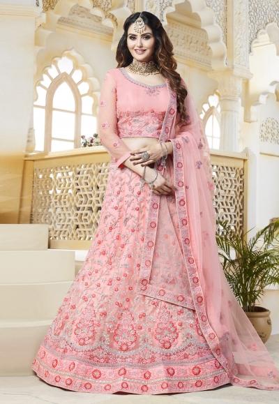 Pink net embroidered lehenga choli 418