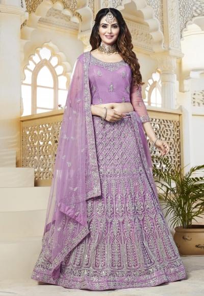 Light purple net embroidered lehenga choli 493