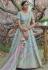 Sky blue pashmina embroidered lehenga choli 1130