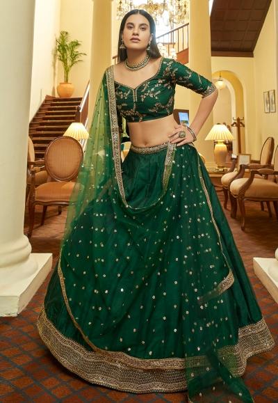 Green art silk sequins work lehenga choli 7305