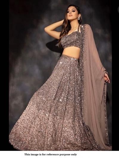 Bollywood model beige sequins wedding lehenga
