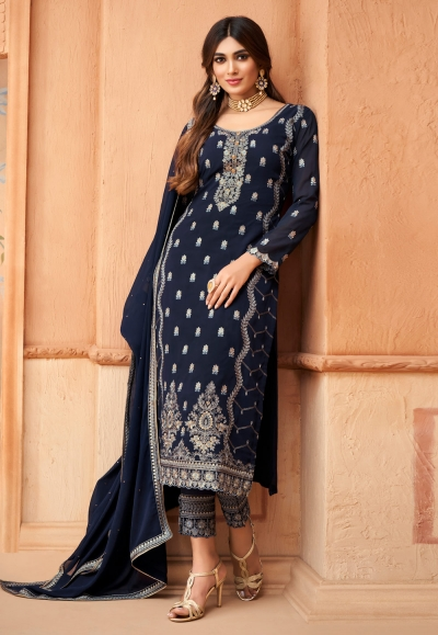 Navy blue georgette embroidered kameez with pant 96004
