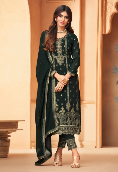 Green georgette embroidered pant style suit 96005