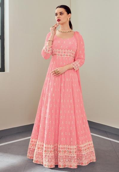 Pink georgette embroidered long anarkali suit 114