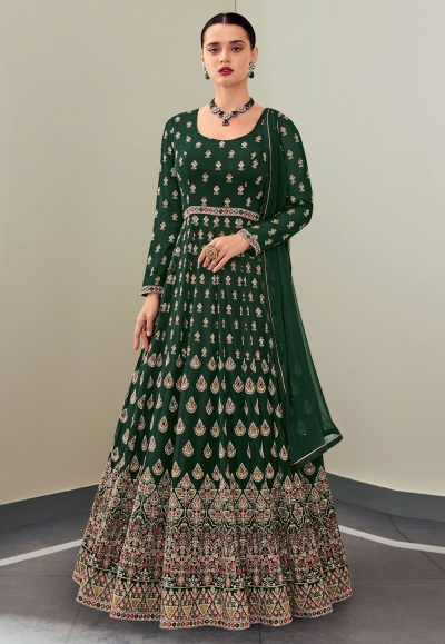Green georgette embroidered abaya style anarkali suit 115