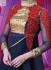 Navy blue and red Wedding Wear Designer Anarkali salwar kameez