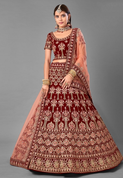Maroon velvet embroidered bridal lehenga choli 7006