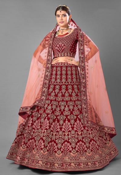 Maroon velvet wedding lehenga choli 7007
