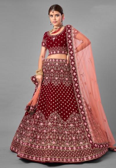 Maroon embroidered velvet bridal lehenga choli 7008