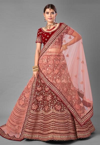 Maroon velvet embroidered wedding lehenga choli 7009