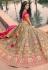 Mehndi banarasi silk embroidered lehenga choli 10123
