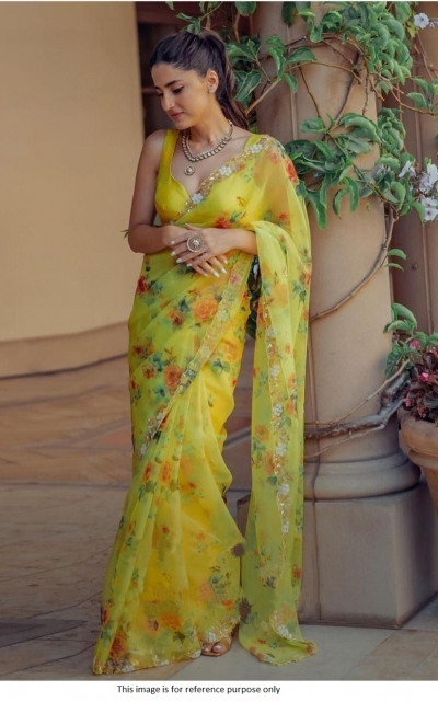 Bollywood model Yellow organza silk saree