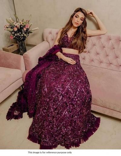 Bollywood model Persian plum velvet sequins lehenga