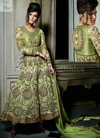 Parrot Green Designer Wedding Wear Anarkali kameez