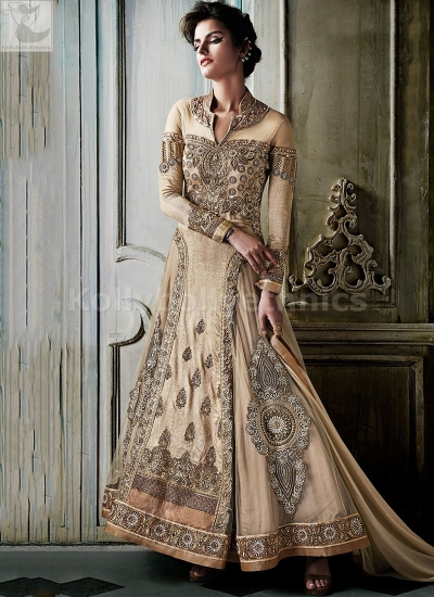 Beige floor length Designer Wedding Wear Anarkali kameez
