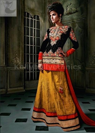 Mustuard and black Designer Wedding Wear Lehenga choli