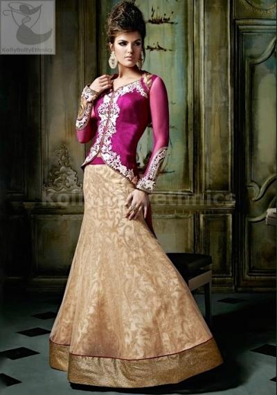 Fuchsia and beige Designer Wedding Wear Lehenga