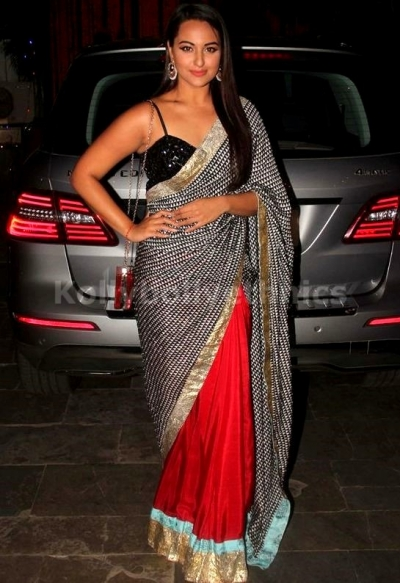 Sonakshi sinha Black and red saree