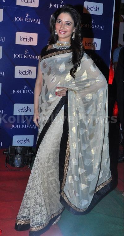 Tamanna Bhatia White Brassco Silk saree