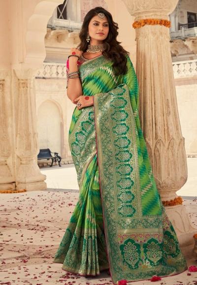 Green banarasi silk saree with blouse 10113