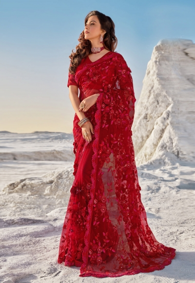 Red net festival wear saree 5701