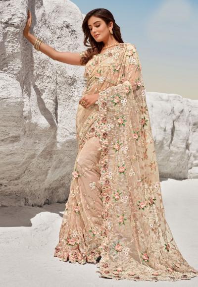 Peach net festival wear saree 5703