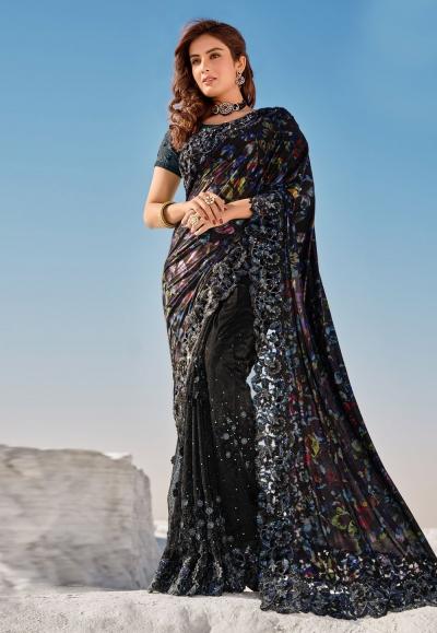 Black net saree with blouse 5704