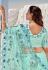 Sea green net festival wear saree 5705