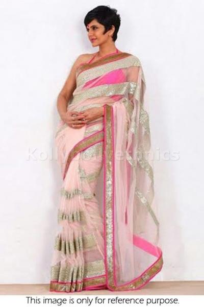 Mandira Bedi pink and cream colour saree