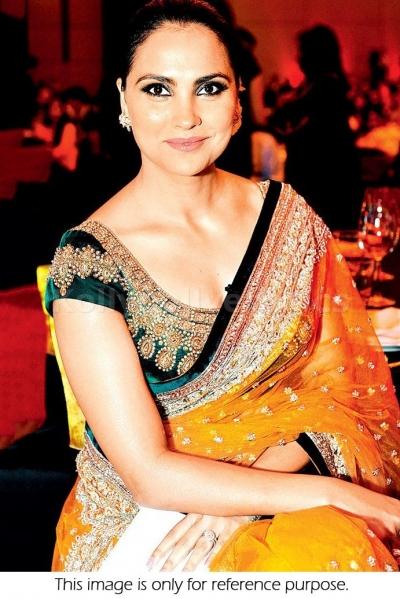 Lara Dutta Orange and green designer saree