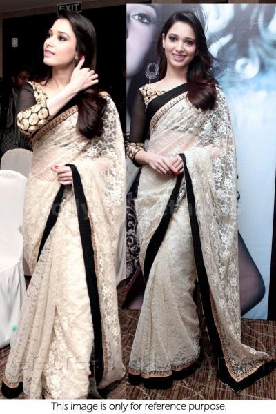 Tamanna Bhatia white and black saree