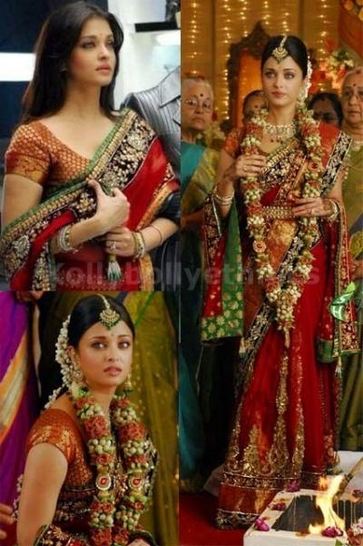 Aishwarya rai red bollywood saree
