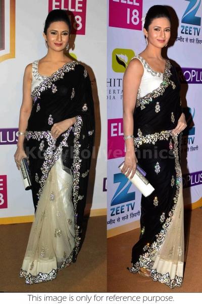 Divyanka tripathi black and white bollywood saree