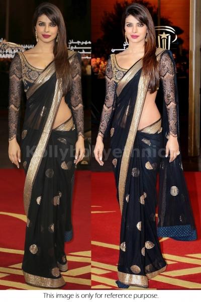 Priyanka chopra black and gold sequins bollywood saree