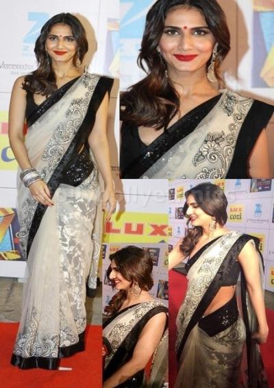 Vani kapoor white and black designer sequins border bollywood saree