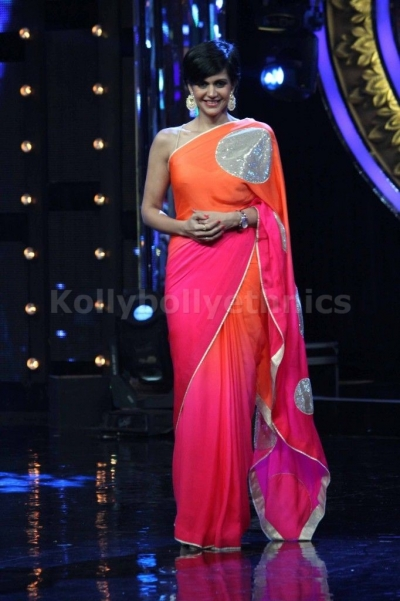 Mandira Bedi pink and orange shaded sequins saree