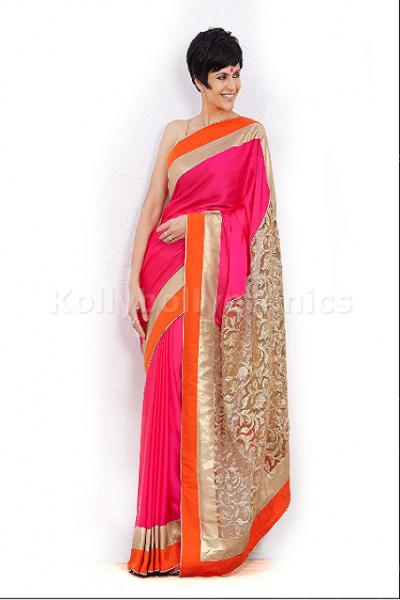 Mandira Bedi pink and gold bollywood saree