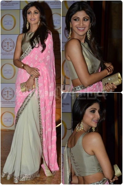Shilpa shetty baby pink bollywood designer saree