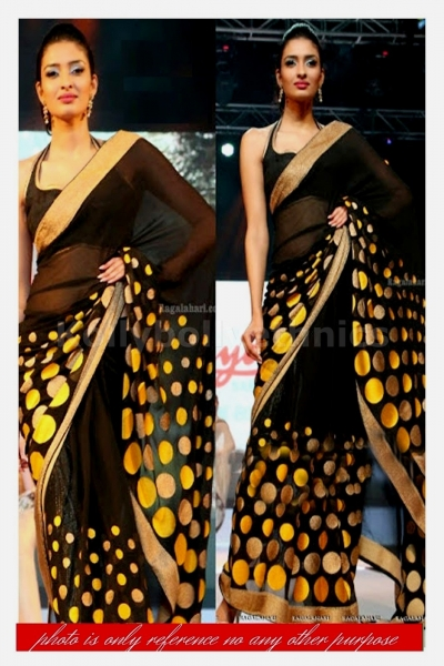 Black and yellow polka dot bollywood saree