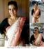 Kajol white and peach border Saree