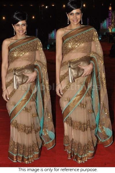 Mandira Bedi beige and gold Saree
